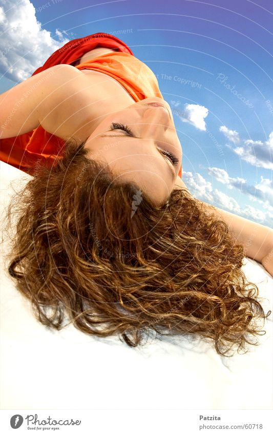 dreamland Woman Feminine Sleep Dream Lie Clouds Long-haired White Red Brown Bird's-eye view Face Hair and hairstyles Rag Sky Floor covering Blue Orange Eyes