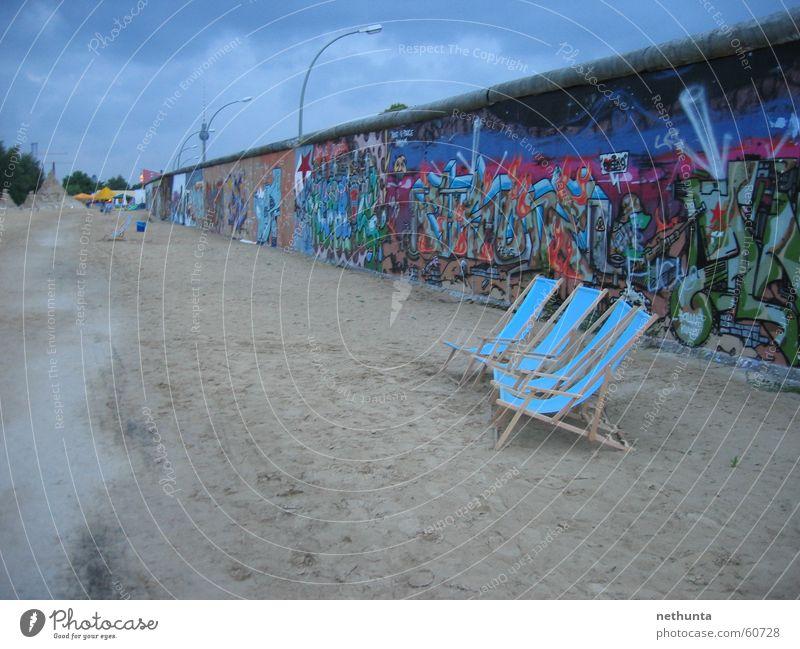 Beach bar Berlin - Eastside-Gallery Wall (barrier) Eastside Gallery Deckchair Summer Berlin TV Tower Blue Sand