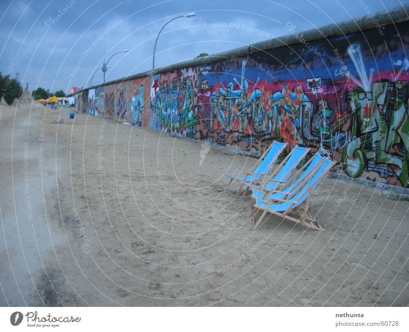 Blue Summer Berlin Wall (barrier) Sand The Wall Bar Berlin TV Tower Deckchair Beach bar Eastside Gallery