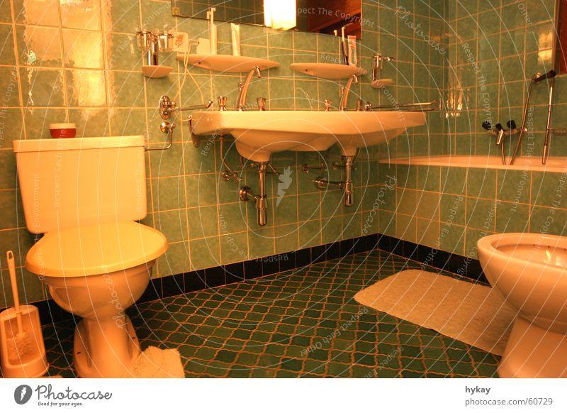 White Retro Bathroom Clean Toilet Tile Bathtub Sink Toothbrush