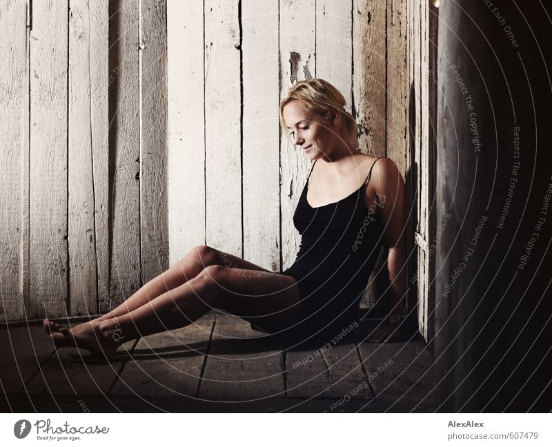 short break Young woman Youth (Young adults) Legs Feet 18 - 30 years Adults Attic Wooden wall Dress Barefoot brood Smiling Sit Esthetic Athletic Happy Beautiful