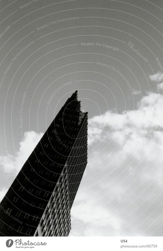 it gets lonely at the top. Clouds High-rise Potsdamer Platz Berlin Sky Black & white photo Capital city Architecture