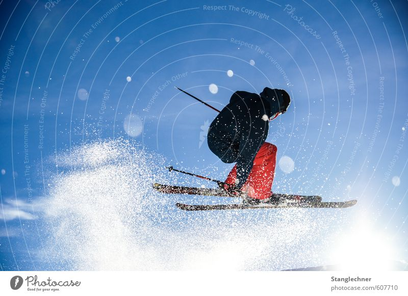 pow jump Sun Winter Snow Sports Freestyle Skiing Skis Ski jump Free skiing Human being Masculine Sky Sky only Beautiful weather Alps Jacket Movement Rotate