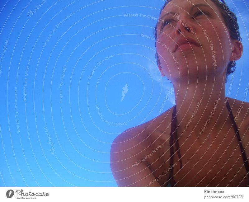 Woman Sky Blue Summer Beach Clouds Warmth Skin Physics Longing Bikini