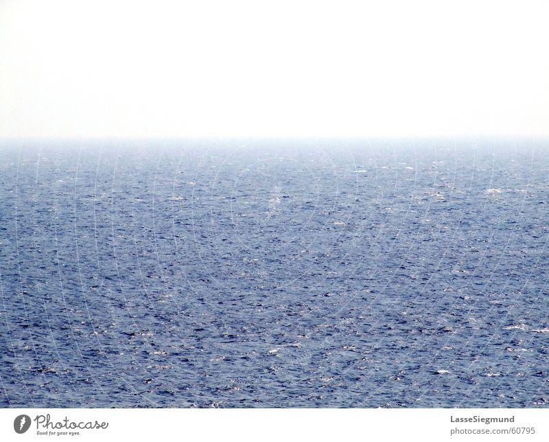 horizon Ocean Blue Waves Horizon Far-off places Beach Coast Navigation Water North Sea Sky Fog