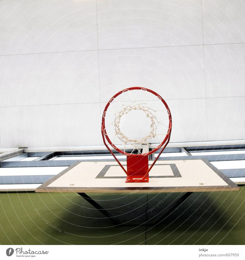 *flummpp* Lifestyle Joy Leisure and hobbies Playing Sports Ball sports Basketball Basketball basket Sporting Complex Basketball arena Deserted Ceiling Line Net