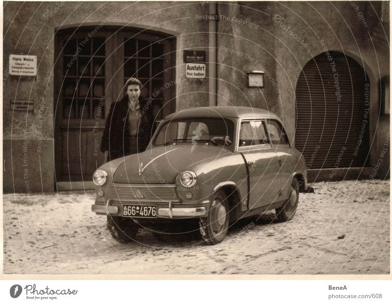 Woman Human being Old White Winter House (Residential Structure) Black Snow Car Brown Germany Transport Motor vehicle Film industry Analog Past