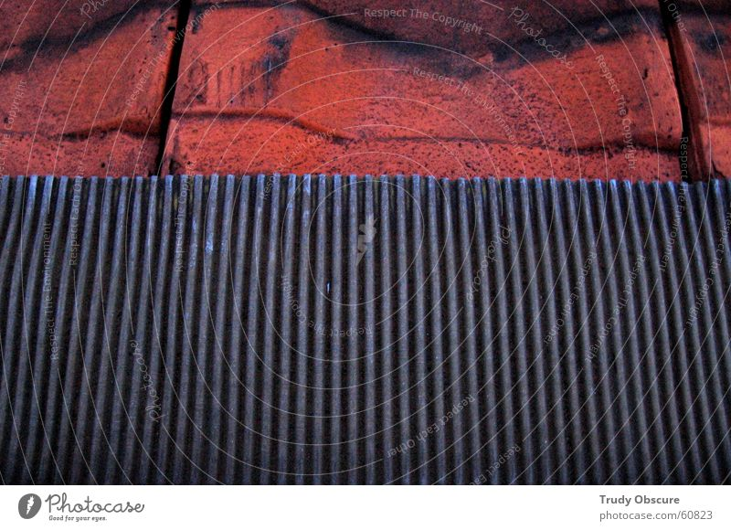 fake terrace Roof Roofing tile Material Merlon Brown Red Iron Steel Auburn Metal Detail Section of image