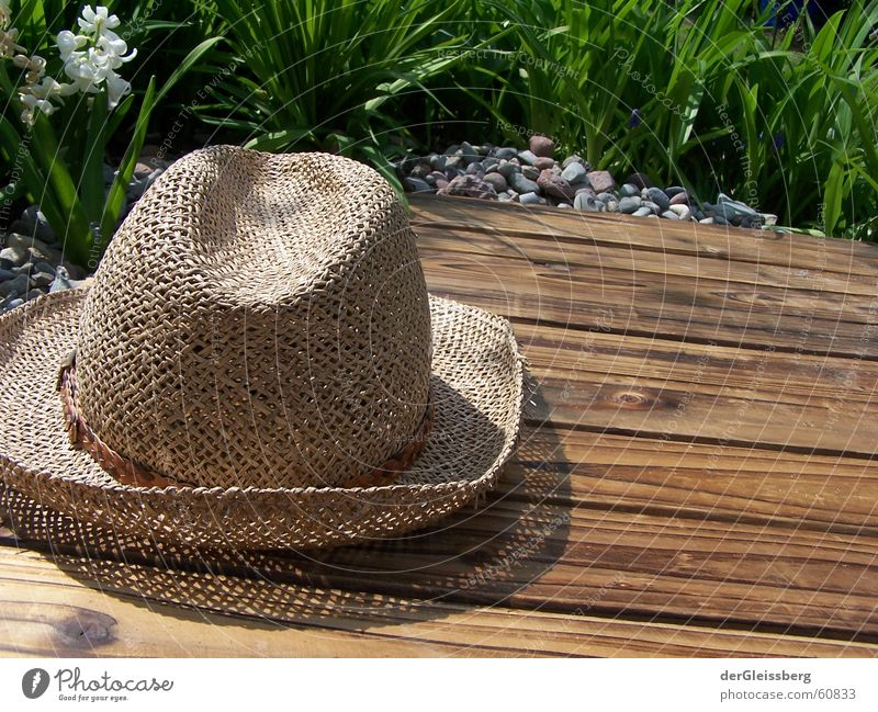 Hut weather! Hatweather! Peace Straw hat Wooden bed Peace-loving Agreeable Spring Green Brown Flower Light Wood flour Jump Headwear Green space Baseball cap