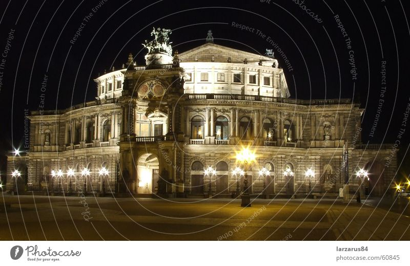 Semper Opera at Night Colour photo Exterior shot Deserted Art Theatre Opera house Dresden Germany Europe Architecture Tourist Attraction Landmark Monument