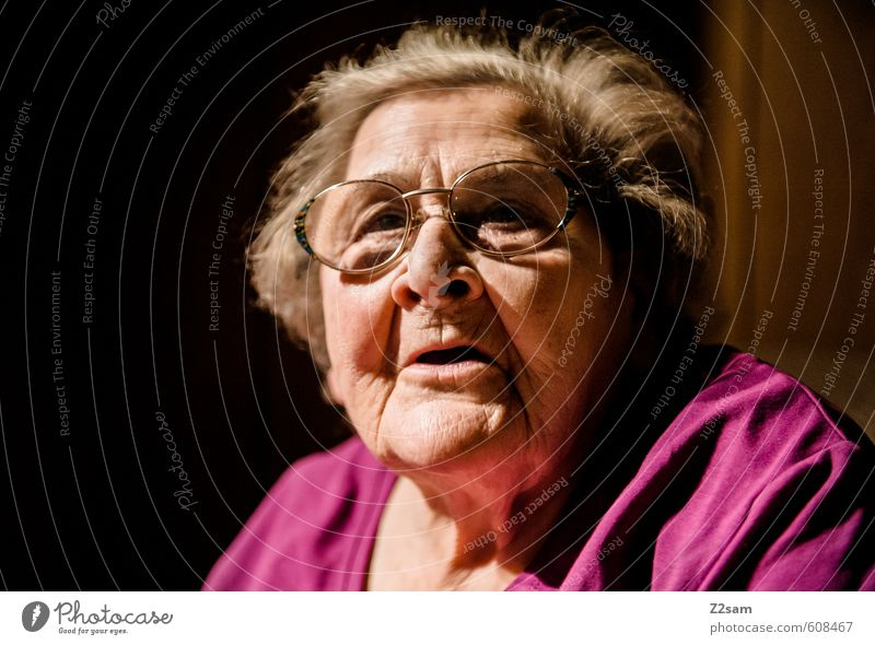 grandma Healthy Health care Care of the elderly Female senior Woman Grandmother 1 Human being 60 years and older Senior citizen Old Think Looking Dream Dark