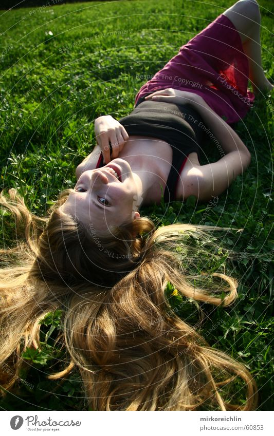 Hand Green White Beautiful Red Flower Joy Black Meadow Grass Hair and hairstyles Laughter Blonde Lie Happiness Sleep