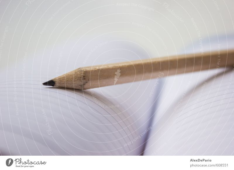 Pencil on a book White Small School Work and employment Business Open Office Design Book Study Clean Paper New Education University & College student Document