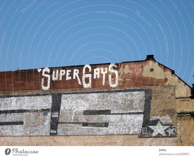 SuperGays Homosexual Building Architecture Facade Brick Happiness Decline Wall (building) Tagger Dismantling gays graffiti Star (Symbol) Berlin Exterior shot