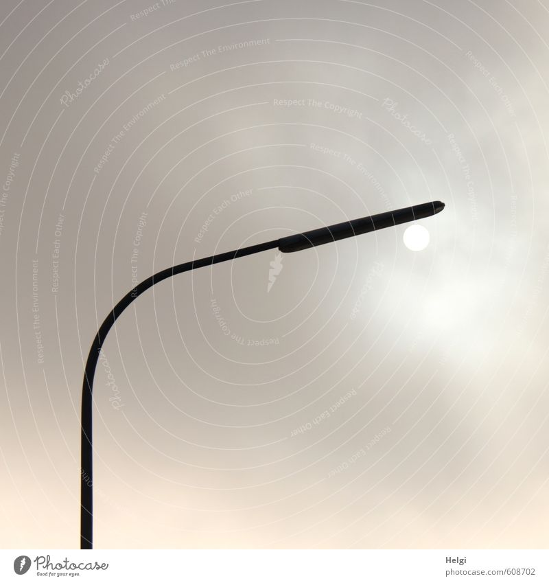 solar light Energy industry Sky Clouds Sun Winter Street lighting Metal Illuminate Stand Exceptional Dark Gray Black White Moody Calm Unwavering Loneliness