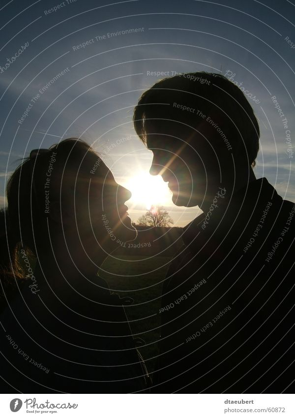 Nature Blue Sun Summer Black Love Romance Kissing Relationship