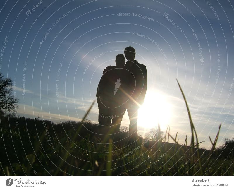 sweet summer Love Romance Kissing Relationship Sunset Grass Green Summer Black Blue Nature sunn set Couple Partner In pairs Lovers Together Trust Affection