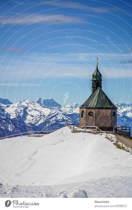 mountain chapel Leisure and hobbies Vacation & Travel Freedom Winter Snow Mountain Hiking Sports Climbing Mountaineering Nature Landscape Air Sky Clouds