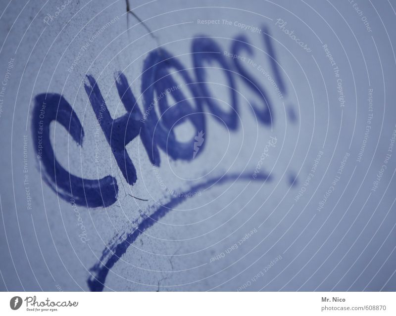 Chaos! Lifestyle Town Wall (barrier) Wall (building) Facade Broken Trashy Blue Anger Frustration Defiant Aggression Aggravation Destruction Anarchy Graffiti
