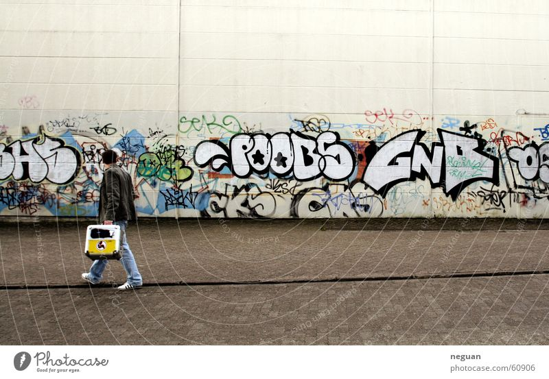 after a hard night. Record box Typography Going Wall (building) Characters graffiti Street Human being