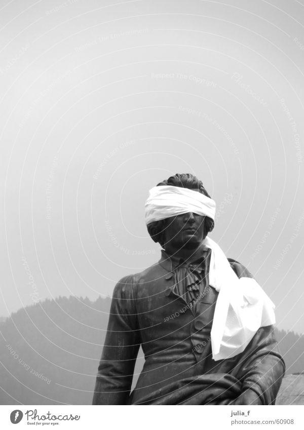 White Black Eyes Gray Art Tourism Gloomy Statue Sculpture Connectedness Blind Salzburg