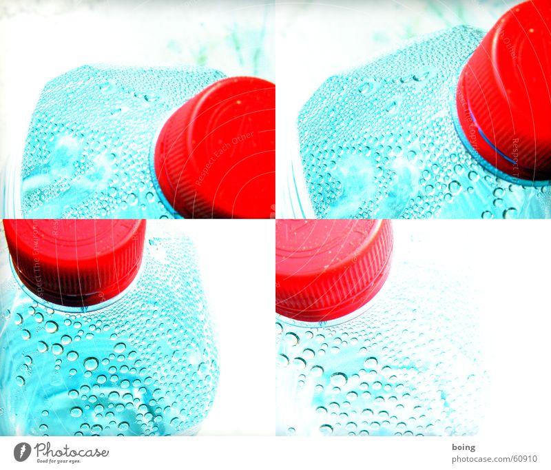 Water Drops of water Drinking water Plastic Gastronomy Bottle Thirst Containers and vessels Lomography Mineral water Bottle lid Screw top Glass container