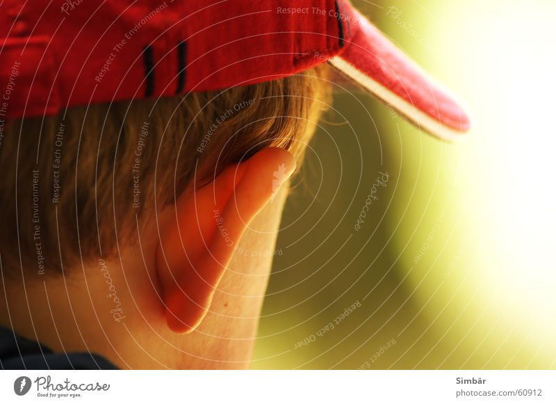 Child Nature Red Calm Hair and hairstyles Think Skin Ear Peace Listening Toddler Classification Baseball cap