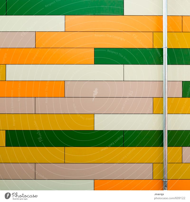 horizontally Elegant Style Design Facade Rain gutter Metal Plastic Stripe Cool (slang) Fresh Bright Modern Green Orange White Colour Background picture