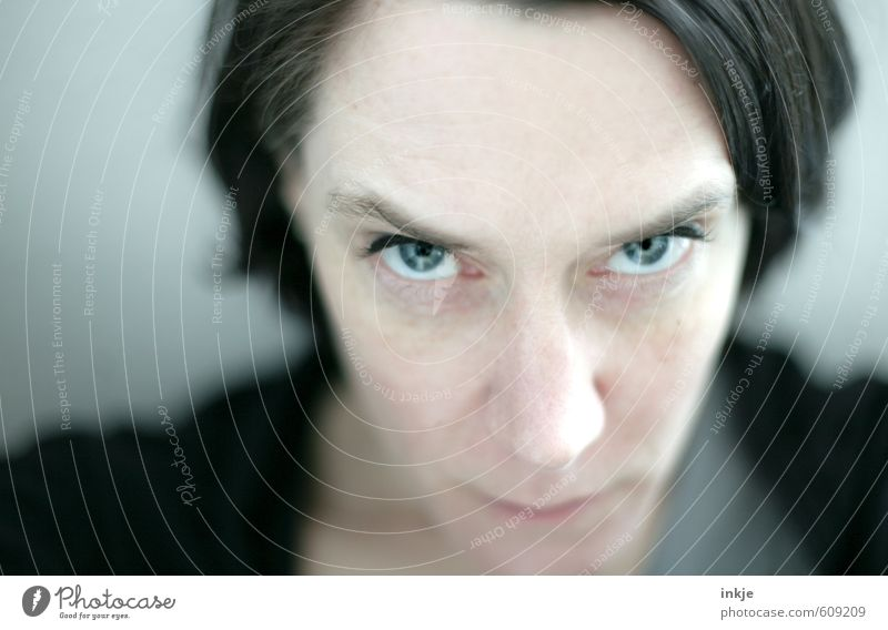 Portrait of a woman, annoyed Lifestyle Style Woman Adults Face Eyes 1 Human being 30 - 45 years Black-haired Part Observe Communicate Looking Near Anger
