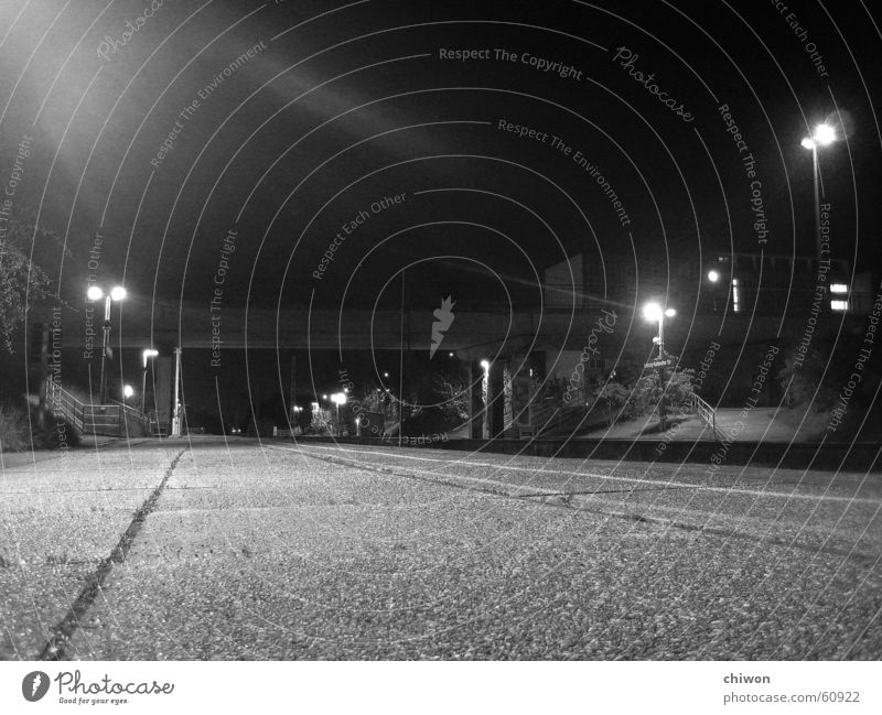 terminus Commuter trains Black White Lantern Night Dark Town Asphalt Concrete Hard Light Terminus Railroad Station Bridge Street centrifugal humming ball