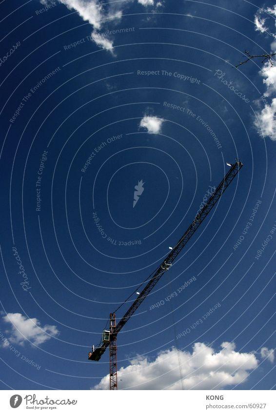 Sky Blue Clouds Construction site Build Crane Bad weather Outrigger