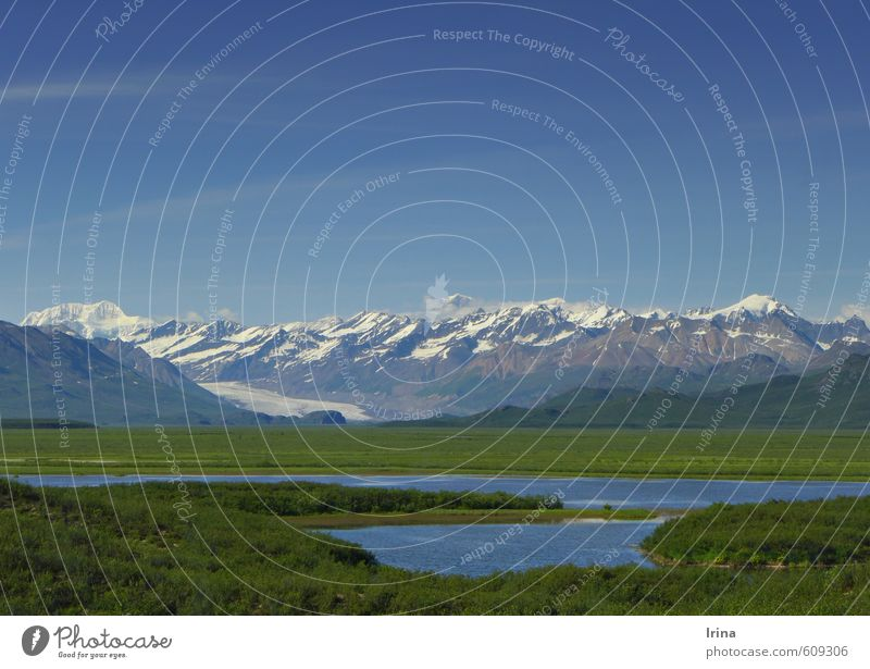 Denali Highway, Alaska Nature Landscape Elements Cloudless sky Summer Beautiful weather Mountain Snowcapped peak Glacier Lake Far-off places Gigantic Infinity