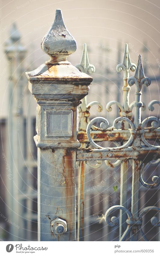 fence of time Old town Fence Gray Past Transience Wrought ironwork Iron Metal Rust Patina Varnish Boundary Point Colour photo Subdued colour Exterior shot