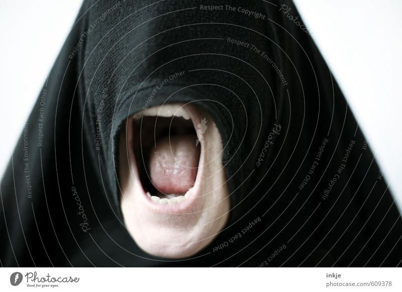 It's all a façade. Lifestyle Style Woman Adults Head Mouth Teeth 1 Human being Headscarf Burka Scream Aggression Threat Creepy Rebellious Wild Anger Black