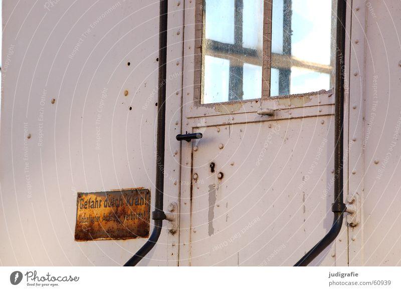 Sky Old Window Line Door Glass Signs and labeling Dangerous Threat Handrail Rust Transparent Crane Window pane Door handle