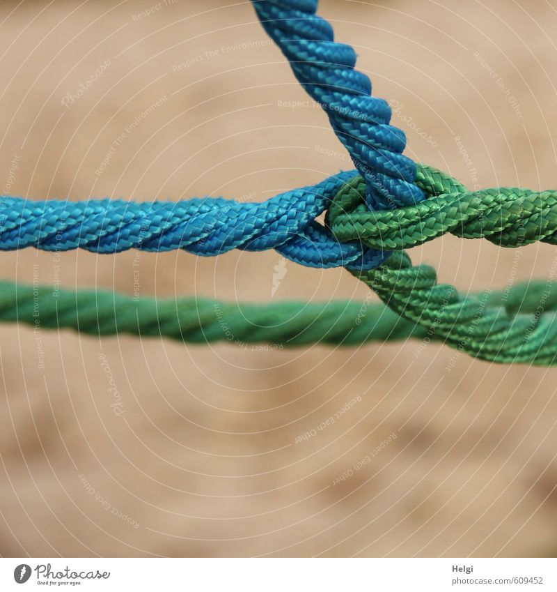 Close-up of knotted and twisted ropes Rope Climbing rope Plastic String Knot Network To hold on Esthetic Exceptional Firm Uniqueness Long Blue Brown Green Joy