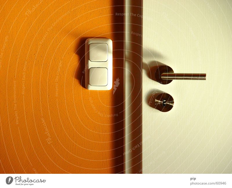 White Wall (building) Orange Door Closed Castle Key Door handle Switch Frame High-grade steel Light switch Drop shadow