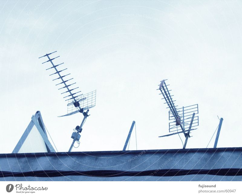 blue antennas Antenna Line Sky House (Residential Structure) Building Blue lines
