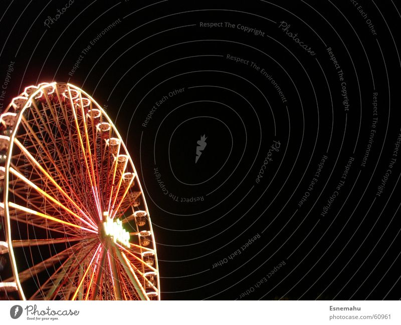 High up and round in a circle Fairs & Carnivals Violet Black Green White Gray Dark Night Evening Rotate Lathe operator Light Lighting Large Colossus