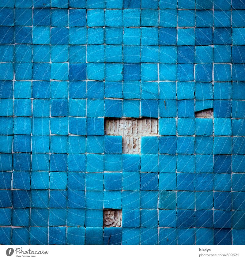 T etris Wall (barrier) Wall (building) Ornament Broken Original Blue Colour Transience Change Tile Mosaic Structures and shapes Square Many Blue tone
