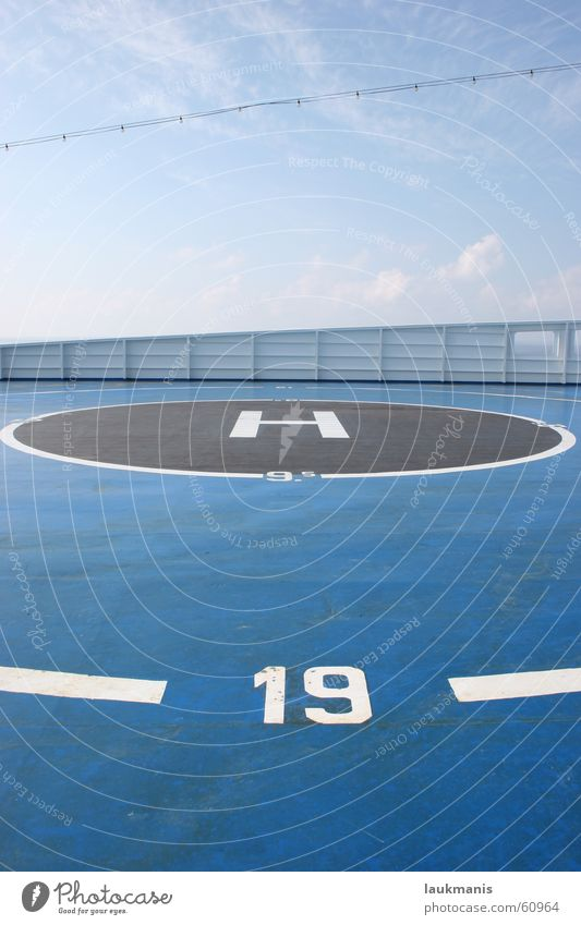 Sky Blue Clouds Bright Watercraft Perspective Circle Round Middle Escape Depth of field Greece Ferry Helicopter 19 Digits and numbers
