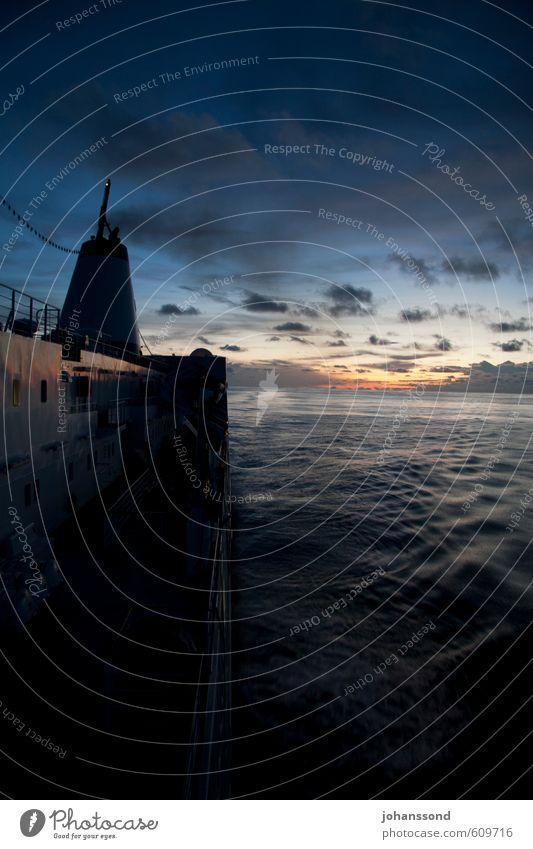 look back Logistics Landscape Water Clouds Horizon Sunrise Sunset Ocean Navigation Passenger ship Relaxation Vacation & Travel Infinity Blue Calm Wanderlust