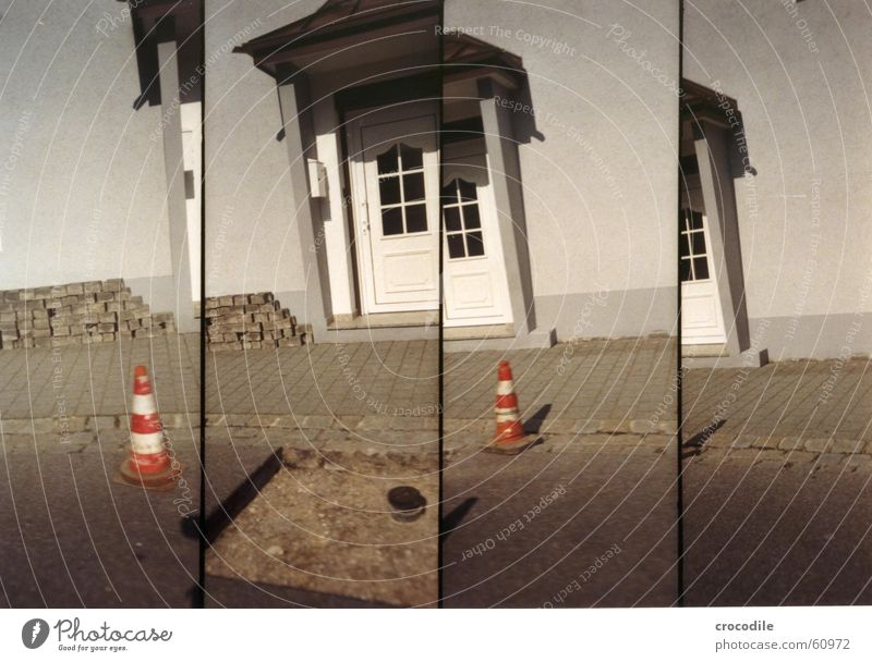 site section Construction site House (Residential Structure) Facade Roof Gray Lomography Street Hollow Orange Hat Door Earth