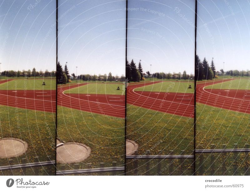 RedRound Sporting grounds Grass Green Perspiration Tree Meadow Lawnmower Lomography Sports Railroad run exertion Soccer Exterior shot