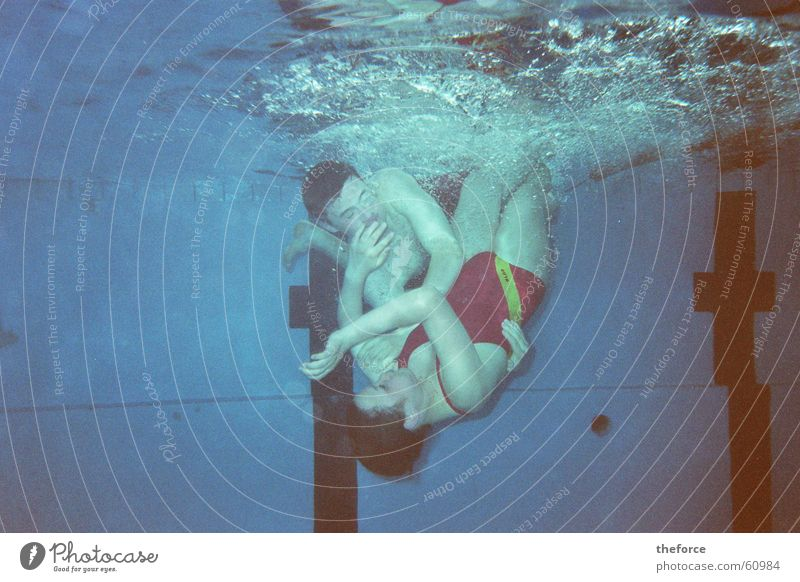 Water Underwater photo Swimming & Bathing Swimming pool Dive Family & Relations Fight