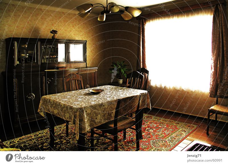 Good room. Table Cupboard Carpet Window Curtain Chair Lamp The thirties Retro Village Wallpaper Old wallpapers