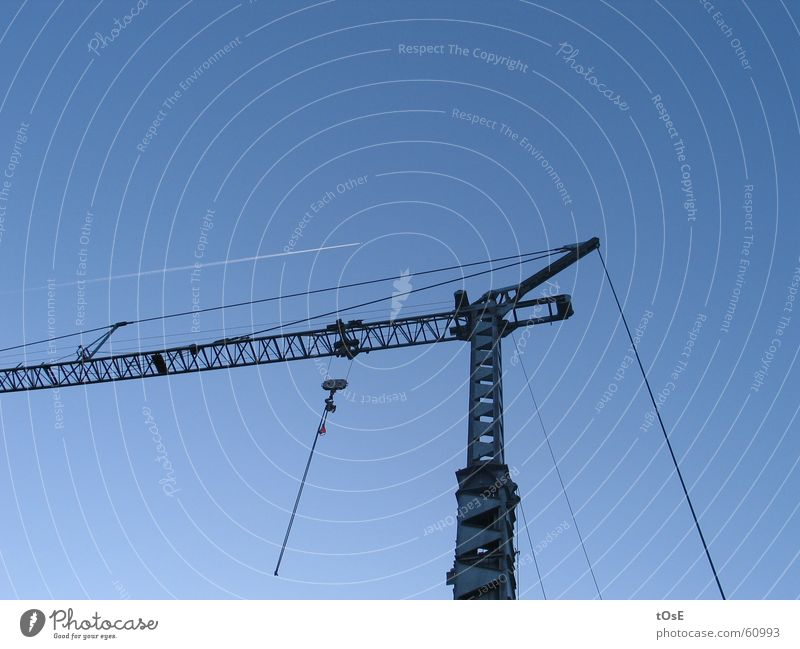 The crane and the crane Airplane Vapor trail Crane Checkmark Wire cable Steel Parallel Sky Beautiful weather Blue lufthansa