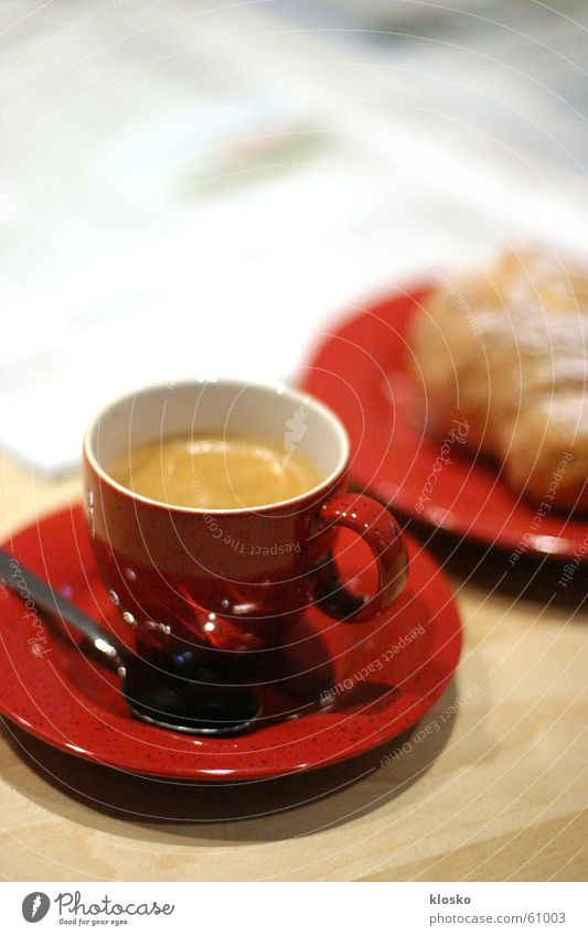 Red Relaxation Table Coffee Sweet Reading Break Newspaper Hot Breakfast Cup Plate Baked goods Sugar Cutlery Espresso
