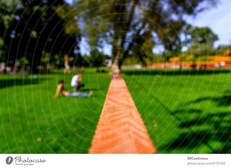 Slackline in the green Leisure and hobbies Vacation & Travel Summer Sports Track and Field Sportsperson slackline Human being 2 Environment Nature Landscape