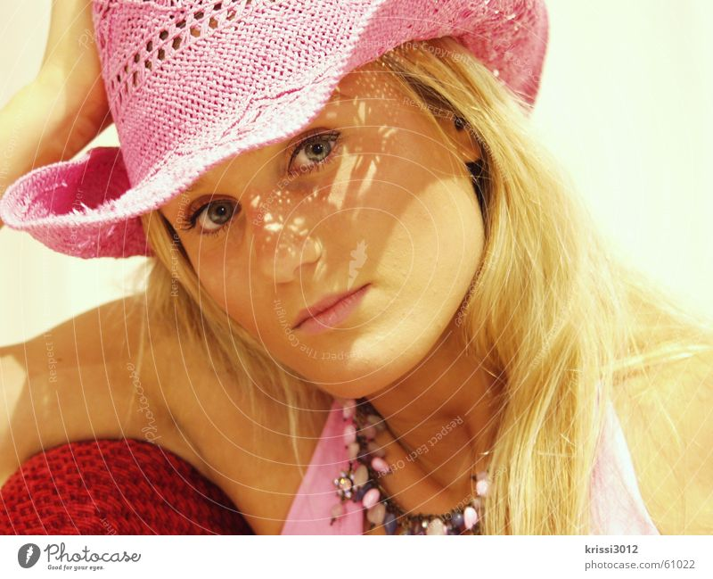 Woman Beautiful Red Summer Blonde Arm Pink Hat Chain Lean Support